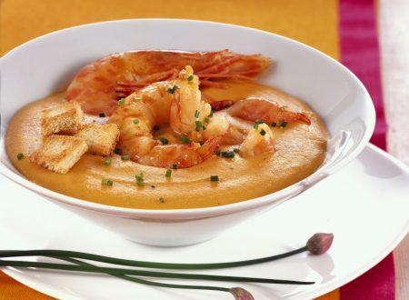 Zuppa di gamberi con crostini